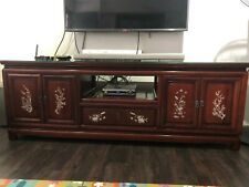 Rosewood TV Console with Mother-of-Pearl Inlay, 2 doors +1 drawer, H 5.65'/L 2'