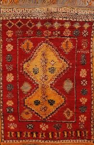 Vintage Vegetable Dye Authentic Moroccan Area Rug Plush Wool Hand-knotted 5'x7'
