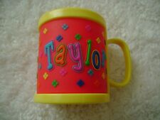 TAYLOR Personalized Plastic Mug Cup 3D RED YELLOW New