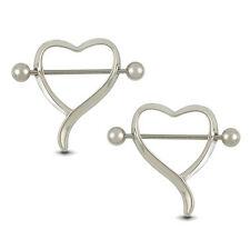 Ideal 2PCS Surgical Steel Love Heart Nipple Shield Bar Ring Body Piercing