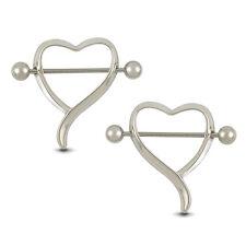 Nipple Shield Bar Ring Body Piercing Ideal 2Pcs Surgical Steel Love Heart