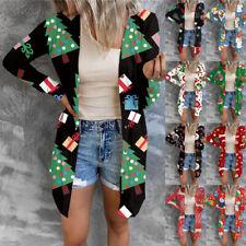 UK Women Ladies Christmas Xmas Print Jumper Tops Sweater Cardigan Coat Plus Size