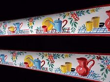 Vintage 1930's Fiesta Cheerful Wallpaper Border Plates Pitchers Flowers Colorful