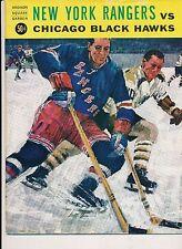 Chicago Black Hawks New York Rangers 10/25/1964 Program + Tickets Hull 3 goals