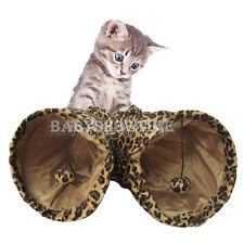 Folding Pet Cat Rabbit Fun Tunnel TWO Holes Pop Out 130cm x 25cm Toys Leopard