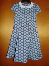 M&S Collared Cap Sleeved Hearts Print Skater Dress 4-5y 110cm Black Mix BNWT
