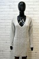 LEVI'S Maglione Lungo Grigio Lana D'agnello Vestito Dress Woman Taglia Size L