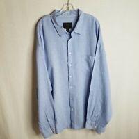 Jos A Bank Mens Blue 100% Linen Button Front L/S Casual Shirt Size 4XL F412