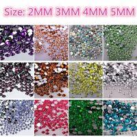 1000Pcs 2MM 3MM 4MM 5MM Facets Resin Rhinestone Gems Flat Back Crystal Beads