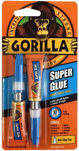 GORILLA SUPER GLUE 2 X 3G TUBES TOUGH QUICK SETTING LEATHER METAL RDGTOOLS