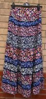 FLORENCE & FRED NAVY BLUE MULTI COLOUR FLORAL 1 PLIT SIDE LONG MAXI SKIRT 6 8 XS