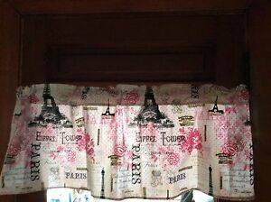 EIFFIL TOWER 42X13 Pink In Paris France Valance Window Curtain