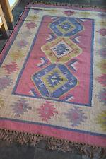 Large Wool Jute Kilim Rose Green Blue 150x215cm Quality Hand Made reversible rug