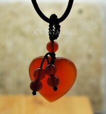 Natural Carnelian Agate Beaded Heart Pendant Necklace Reiki Healing Ladies Gift