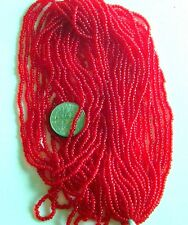 """Sweetheart Red Vintage Round Glass Seed Beads 11/0 Long 20"""" Hank 18bpi (5408804)"""