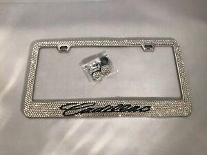 Cadillac Bling Bling License Plate Frame Custom Diamond  Rhinestone Metal Base