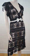 Karen Millen Black Crochet loose knitted Cream Bow Evening Dress sz:2; uk8
