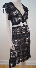 KAREN MILLEN Black Crochet Loose Knitted Cream Bow Evening Dress Sz:2; UK8