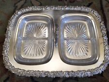 Vintage Gorham Silver plated (Electroplate) & Glass Divided Condiment Dish
