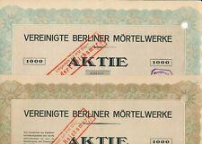 2 x VBM- Aktien / Vereinigte Berliner Mörtelwerke, von 1922 und 1923, 1000 RM