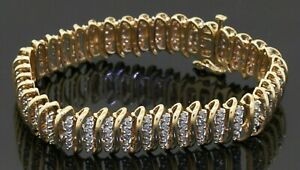 Heavy 14K gold high fashion 5.0CTW diamond cluster 12mm wide tennis bracelet