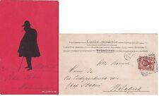 # SILHOUETTES DI GOBBO SU FONDO ROSSO 1902 -VIAGG. DA GAETA A BOLOGNA