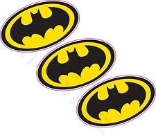 3 X Batman Logo Crest Vinyle Autocollant 80x46mm Mur voiture Ordinateur Portable Super-héros Comic
