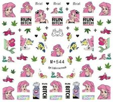 "Nail Art Stickers Water Decals Transfers Rude Mermaid ""RUN B*TCH!"" Weed (M+544)"