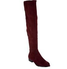 Isaac Mizrahi Live! Faux Suede Over-the-Knee Boots Bordeaux Twain Women's 9W