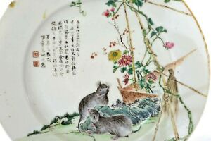 1930's Chinese Famille Rose Porcelain Plate Dish Calligraphy Rat Mouse - AS IS