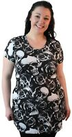 Ladies Plus Size Womens Short Sleeve Skull Rose Print Long Tunic Top T-Shirt