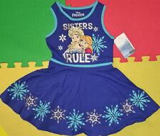 "@DISNEY FROZEN ""SISTERS RULE"" ELSA ANNA CHEERLEADER STYLE DRESS@NWT! SIZE 5, 6"