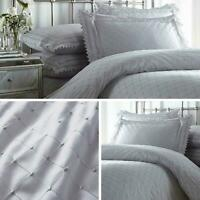 Grey Duvet Covers Lace Trim Broderie Anglaise Balmoral Quilt Cover Bedding Sets
