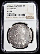 Mexico: Charles IV 8 Reales 1808 Mo-TH MS62 NGC.