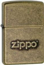 Zippo 28994 stamped logo antique brass finish Lighter