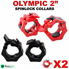 """2"""" Olympic Weight Lifting Barbell Dumbbell Bar Spinlock Collars Pair Set 5cm Gym"""