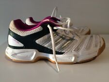 sports shoes d93d1 73f68 Adidas Womens BT Feather Team Indoor Court Shoes WhiteMetallic Silver  Trainers