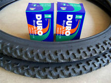 "2--24x1.95 Mountain Bike Tires & 2-24"" Bicycle Inner Tubes Black/Duro Brand"