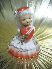 VTG Napco February Birthday Valentine Angel Girl Heart Bell Figurine