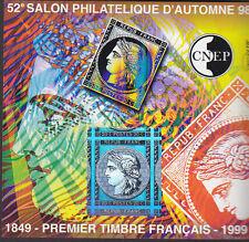 TIMBRE BLOC  C.N.E.P N° 28 SALON AUTOMNE 98 PREMIER TIMBRE FRANCAIS  NON DENTELE
