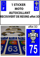 1 sticker plaque immatriculation MOTO TUNING 3D RESINE  FPF PORTUGAL DEPA 75