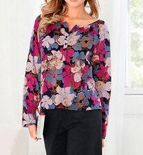 Geblümte Damenblusen, - tops & -shirts aus Baumwolle mit Rundhals im Passform