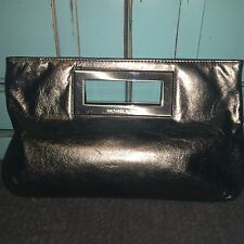 Michael Kors Berkley Silver Leather Clutch bag with Dustbag