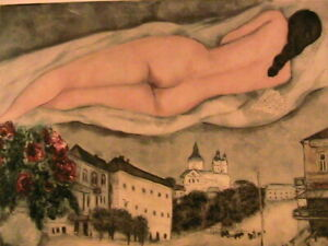 "1933 Marc Chagall ""Nude Over Vitebsk"" Post Card 6.3 x 4.5 Small Modern Art Print"
