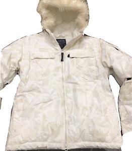 ROXY 5000 5K Women's Ski Snowboard Jacket Beige Ivory Fur Lined Hood Size M