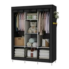 UDEAR Portable Canvas Wardrobes Clothes Storage Shelves Black