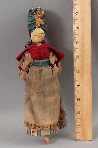 Small Antique German Grodnertal Carved & Painted Wood Penny Doll & Orig Dress NR
