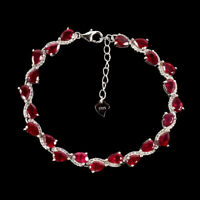 Pear Red Ruby 6x4mm White Cz 14k White Gold Plate 925 Sterling Silver Bracelet