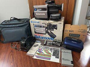 Vintage Betamovie VRC 200 Camcorder With Accessories Sanyo Beta Max