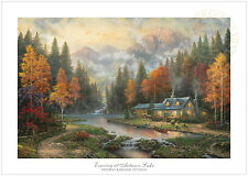 Thomas Kinkade Evening at Autumn Lake 28 x 42 Limited Edition S/N Paper